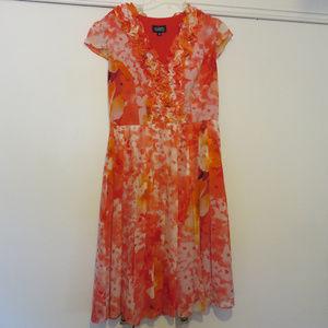 Pink and Orange Floral Dress